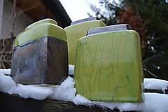 Dekorácie - Vázy kocky, bronzové, zelené - SET - 11410417_