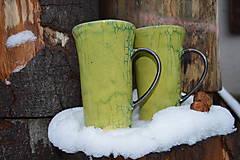 Nádoby - Latte šálka, zelená, kraklovaná :o)). - 11410565_