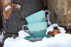 Nádoby - Šálka tyrkysová, espresso so srdiečkami :o)). - 11410608_