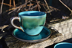 Nádoby - Šálka tyrkysová, espresso. - 11410652_