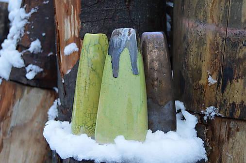 Vázy bronzové, zelené - TRIO