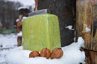 Dekorácie - Váza zelená, kocka. - 11410399_