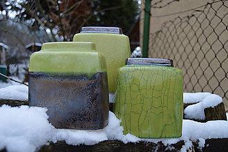 Dekorácie - Vázy kocky, bronzové, zelené - SET - 11410416_
