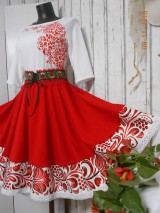 FLORAL FOLK - červená kruhová sukňa s vačkami
