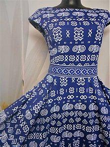 """Šaty - FLORAL FOLK """" Čičmany Black & white """", spoločenské dlhé šaty (Modro - biela) - 11409281_"""