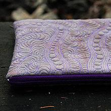 Taštičky - Šedohnědá (taupe) s fialovou - taštička - 11409506_