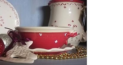 Nádoby - Červená keramická miska na guláš - 11410023_