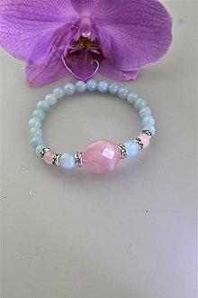 Náramky - ruženín s akvamarínom náramok luxusný - 11410074_
