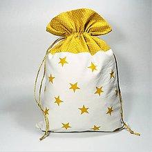 Úžitkový textil - Veselé bavlnené vrecúško 20x30cm (hviezdičky bodky horčicová) - 11409224_
