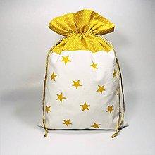 Úžitkový textil - Veselé bavlnené vrecúško 25x37cm (hviezdičky horčicová) - 11409260_