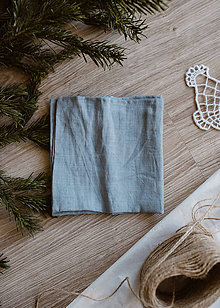 Úžitkový textil - Zero waste ľanová wreckovka (Svetlá denimová) - 11410979_