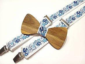 Doplnky - Pánsky set folklórny  drevený motýlik + traky  folk - 11408885_