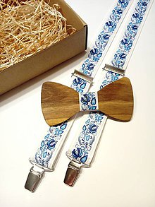 Doplnky - Pánsky set folklórny  drevený motýlik + traky  folk - 11408890_