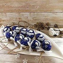 Dekorácie - Vianočný oriešok - Vtáčik a vianočná noc (modrá) - 11409979_
