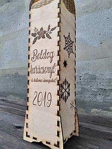 Krabičky - Škatuľa na fľaše s vianočným motívom - 11410151_