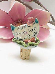 Pomôcky - zátka na fľašu mačka - 11409398_
