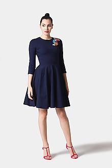 Šaty - Šaty tmavomodré s výšivkou - 11411557_