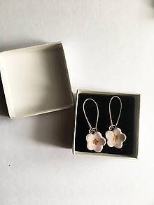 Náušnice - ružové kvietky/keramika/ - 11413199_