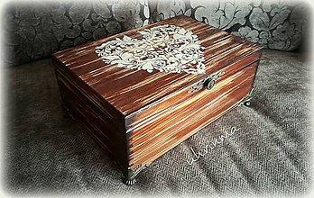 Krabičky - MAXI šperkovnica hnedá SRDCE - 11411286_