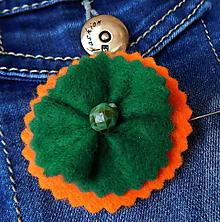 Odznaky/Brošne - brož smaragdový kvietok - 11411366_