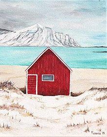 Obrazy - Originál akryl na plátne Červená chatka - 11411702_