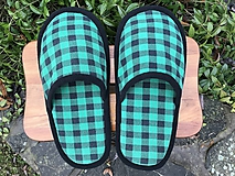 Obuv - Zelené flanelové papuče - 11412173_