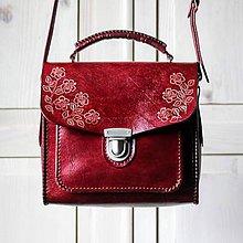 Kabelky - Kožená kabelka Floral satchel *burgungy* - 11412110_