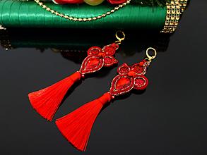 Náušnice - Luxusné červené náušnice - 11412370_