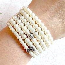 Náramky - Set of 6 Ivory Beaded Bracelets / Sada elastických náramkov z ivory voskovaných perál - 11413927_