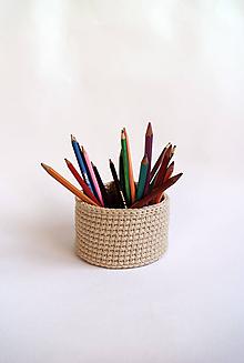 Dekorácie - Háčkovaný košík   Béžový   svetlý   malý - 11415385_