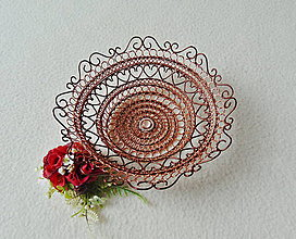 Dekorácie - Drôtená medená miska - 11413609_