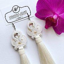 Náušnice - Ručne šité šujtašové náušnice so Swarovski®️crystals / Soutache earrings - Swarovski (Angel - biela) - 11414046_