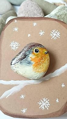 Odznaky/Brošne - Brošňa vtáčik - maľovaný kameň - 11413607_