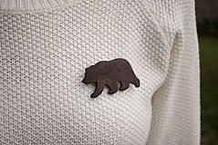 Odznaky/Brošne - Drevená brošňa medveď - 11414835_