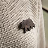 Odznaky/Brošne - Drevená brošňa medveď - 11414837_
