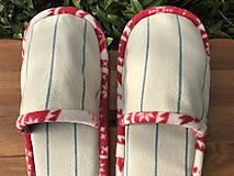 Obuv - Béžové pásikové papuče - 11413556_