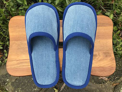 Modré denim papuče