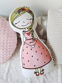 Textil - Vankúšik - Princezná v ružových šatách - 11414625_