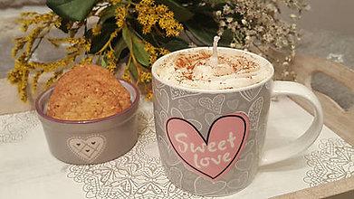 Dekorácie - Cappuccino dekoratívna sviečka - 11414164_
