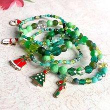 Náramky - Set of 5 Christmas Beaded Bracelets / Sada vianočných elastických náramkov - 11416231_