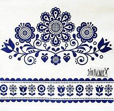 Papier - S1459 - Servítky - folklórny, ľudový, výšivka, modrotlač - 11416104_