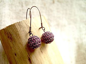 Náušnice - guličky korálikové fialkové - 11417053_