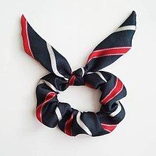 Ozdoby do vlasov - Recy-scrunchie modro-červená pásikatá - 11416221_