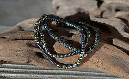 Náramky - Trojica náramkov z tmavozeleného rokajlu - 11416350_