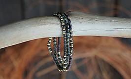 Náramky - Trojica náramkov z tmavozeleného rokajlu - 11416351_