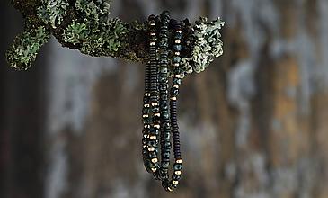 Náramky - Trojica náramkov z tmavozeleného rokajlu - 11416353_