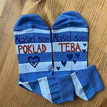 """Obuv - Maľované pásikavé ponožky s nápisom: """"Našiel som teba, našiel som poklad"""" - 11416676_"""