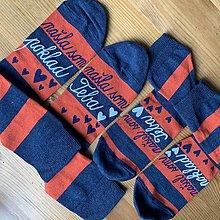 """Obuv - Set maľovaný pásikavých ponožiek s nápisom: """"našla(/našiel) som poklad /našla(/našiel) som teba"""" - 11416719_"""