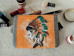Taštičky - Taštička na mobil - Indiánská kráska - 11416113_