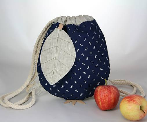 batoh Jabĺčko ľanové + modrotlač